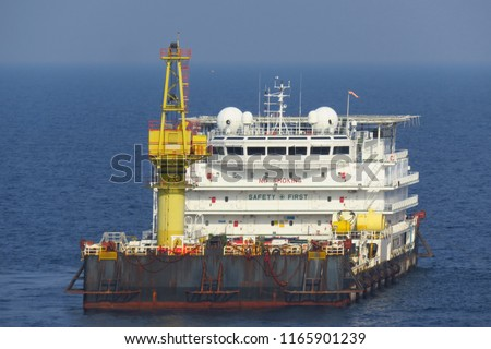 A typical Offshore Accommodation and Work Barge in the Oil and Gas industry. Offshore Accommodation Barge to serve as an offshore hotel to personnel and crew.