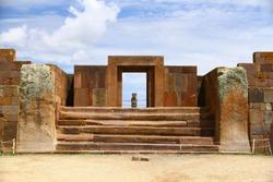 A view from The Kalasasaya Temple, Tiwanaku archaeological site, La Paz, Bolivya.