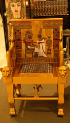 A vintage chair represents an ancient Egypt