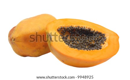 a whole and a half of papaya over white background