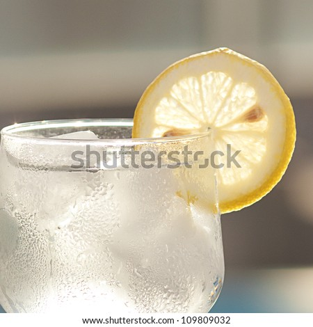 a wine glass with ice and  lemon