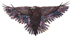 A wise black raven, flies, analyzes, understands everything, is ready to clean out negativity and stupidity from the present, is molded from plasticine