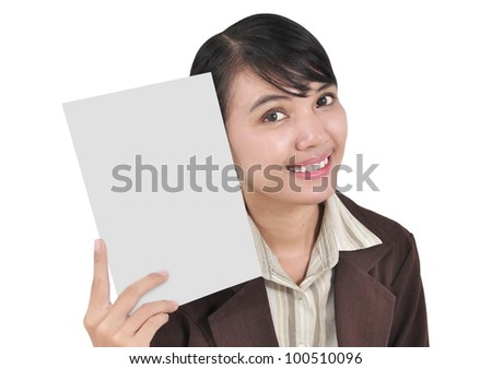 a young businesswoman smiling and carrying a blank paper, isolated on white background