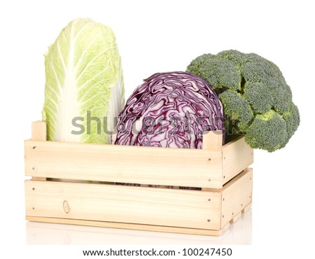 ?abbages and broccoli in wooden crate isolated on white