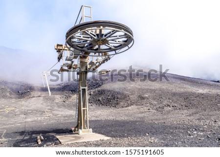 Сable car, funicular on Etna Volcano Mountain Sicily Italy #1575191605