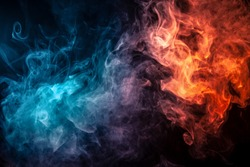 Abstract art colored smoke red and blue on black isolated background. Stop the movement of multicolored smoke on dark background