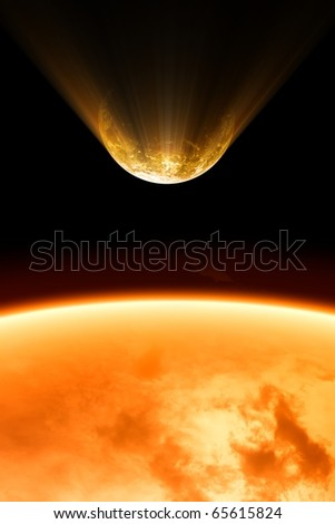 2012 abstract background - planet burning close to sun
