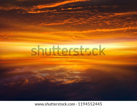 Abstract big explosion .  Light from sky . Religion background . beautiful cloud . background sky at sunset and dawn .   Sunset or sunrise with clouds, light rays and other atmospheric effect