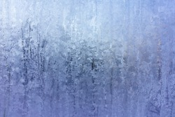 Abstract Blue Frost Background, Closeup Frozen Winter Window Pane Coated Shiny Icy Frost Patterns, Extreme North Low Temperature, Natural Ice Pattern on a Frosty Glass, Cool Winter Abstract Ice Glass