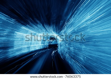 Abstract blurred speed motion light tunnel