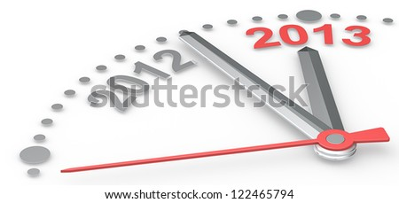 2013. Abstract clock counting down from 2012 to 2013. Red theme color.