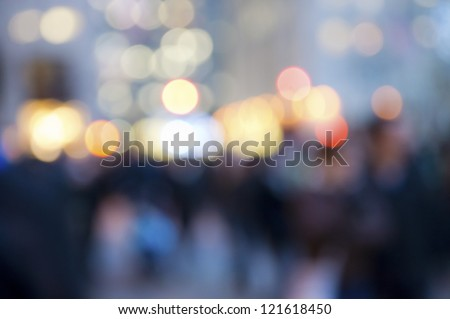 """Abstract Crowd and Lights"" An abstract look at the Christmas lights and the people in Rockefeller Center in Manhattan."