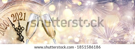 2021 Abstract Defocused New Year - Countdown And Toast With Champagne And Clock