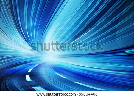 Abstract design of fast speed motion in urban highway tunnel  road, moving toward the light, or optical fibers information technology Blue colorful Computer generated illustration.