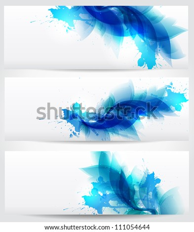 abstract floral blue elements with blots