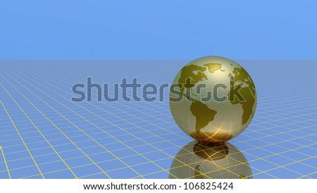 Abstract globe over grid and sky, 3d illustration.