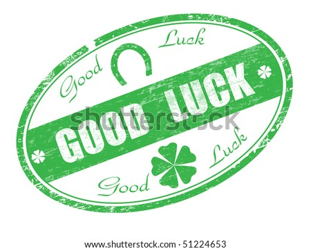 Abstract green grunge rubber stamp with horseshoe, four leaf clovers and the text good luck written in the stamp