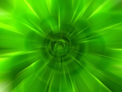 Abstract green zoom effect background. Digitally generated image. Rays of green light. Colorful radial blur, fast speed zooming motion, sunburst or starburst. Use for Banner Background