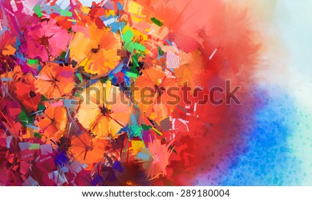 Abstract Oil painting a bouquet of gerbera flowers .Closeup still life of red color flowers with soft red and blue color background. Hand Painted floral Impressionist style.
