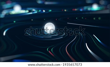 Abstract technology big data concept. Motion graphic for abstract data center, data flow. Transferring of big data and storage of block chain, server,  hi-speed internet. 3D Rendering.