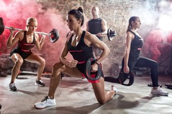 Active people on  class of body pump