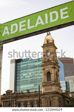 """ADELAIDE"" banner and buildings in downtown Adelaide, Australia"