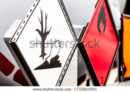 ADR plates for dangerous goods signaling Foto stock ©