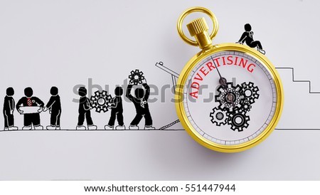 """Advertising"" words on pocket watch with workers doodles carry on cog and read plan to fix it on white background - business, time and finance concept #551447944"
