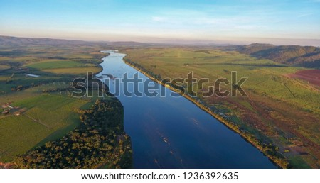Aerial photo made with drone showing the beauty and immensity of Rio Grande, in Minas Gerais, Brazil