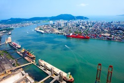 aerial photography of the port in the city of Santos, Brazil