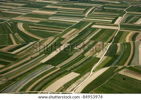 AERIAL TEXTURE FROM ABOVE SUMMER FIELD - stock photo