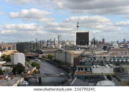 Aerial view from Reichstag Cupola to Berlin with the river Spree. (Germany)