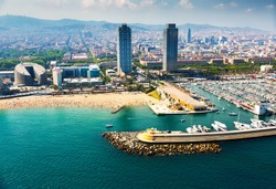 aerial view of docked yachts in Port. Barcelona, Spain