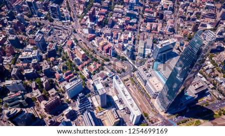 aerial view of downtown in Santiago, Chile #1254699169