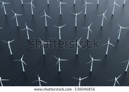 Aerial View of Modern Wind Turbines Plant in the Sea. 3D Rendering