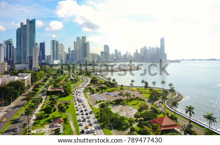 Aerial view of the modern skyline of Panama City , Panama #789477430