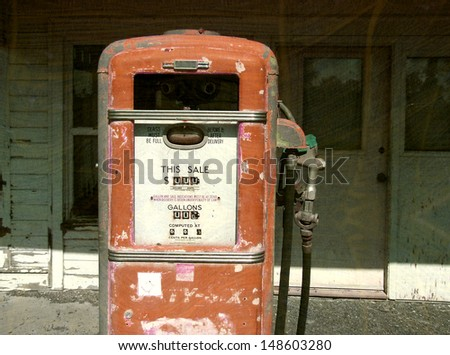 aged and worn vintage gas pump