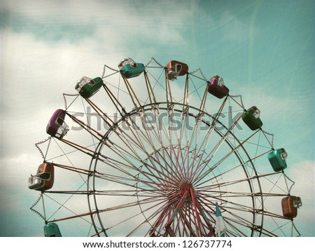 aged and worn vintage photo ferris wheel