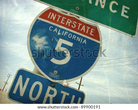 aged and worn vintage photo of california interstate freeway sign