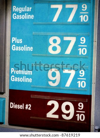 aged and worn vintage photo of low gasoline prices