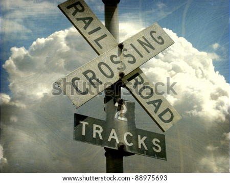 Railroad crossing signal for two tracks Images and Stock