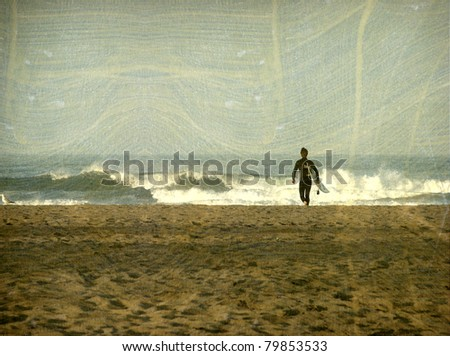 aged vintage photo of surfer approaching ocean