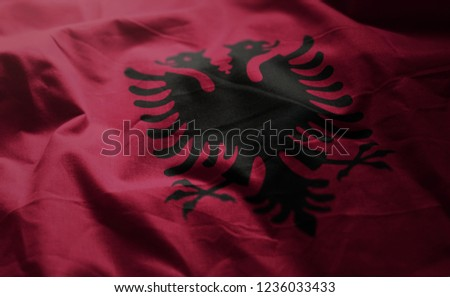 Albania Flag Rumpled Close Up
