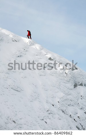 Alpinists climbing a mountain