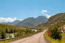 Altai Republic, Siberia, Russia. Gorny (Mountain ) Altai. Chuya Katun Valley and Highway R256 Chuysky Trakt. Scenic views of turquoise Katun river and high mountain ranges around. Fantastic landscape