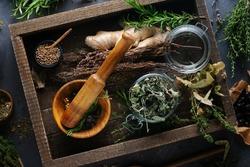 Alternative medicine, herbal treatment.Wood mortar, mint, linden, thyme, lavender on a dark background, top view.