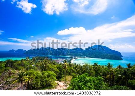 Amazing View Point , tropical islands Phi Phi Don and Phi Phi Leh in sea. Crabi, Thailand