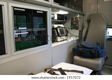 """""""Ambulance Interior""""  Interior view of the patient compartment of an ambulance. Paramedic unit."""