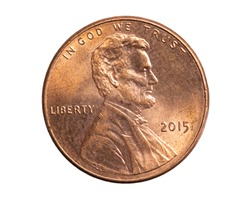 1 american cent coin on a white background