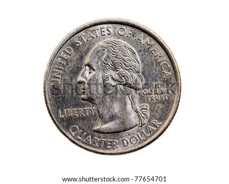 25 American cents (isolated, closeup)